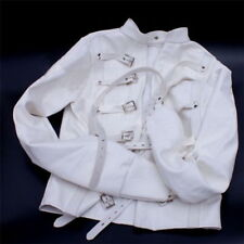 White & Black Asylum Straight Jacket Costume BODY HARNESS Restraint Armbinder US