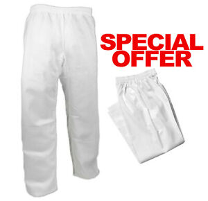 Heavyweight 12 oz White Karate Pants 100% Cotton, Tang Soo Do Martial Arts Pants