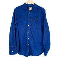 G Star Raw Landoh Long Sleeve Mens Button Up Shirt Size XL Blue Pearl Snap