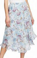 Vince Camuto Womens Blue Size Medium M Poetic Blooms Ruffle Hem Skirt $99- 662