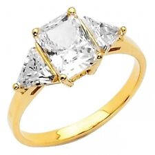 14K Solid Gold 2.25ct Emerald Cut Three Stone Simulated Diamond Engagement Ring
