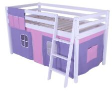 Shorty Mid Sleeper Cabin Bed loft Bunk Tent Girls New White Frame 2FT 6""