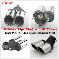 63mm Grilled Black Exhaust Tip Muffler Dual Pipe 304 Stainless Steel Tail Throat