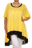 New Women's Plus Size Yellow Black Hi Low Short Sleeve Top -Tunic Size 1X 2X 3X