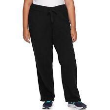 WOMEN'S LOUNGE/SLEEP PANTS-COZY & WARM MICRO-FLEECE PLUS SIZE-BLACK-1X