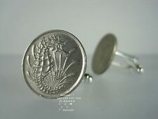CUFFLINKS VINTAGE SINGAPORE SEAHORSE FISH 10 CENT 1967 - 1985 COIN BOX NEW 🐘