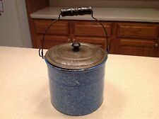 Vintage Enamelware/ Graniteware Cream Pot Pail Blue White Speckled W/ Tin LId