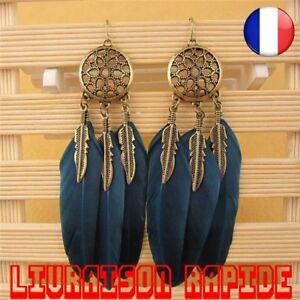 Boucles D'oreilles Plume Femme Attrape Rêve Bijoux Indien Ethnique Dream Catcher