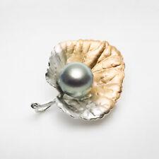 Vivid Big 13mm Silver Gray Tahitian Pearl Saltwater Brooch Pin Sterling Silver