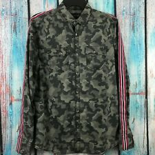 INC Men's Small Camouflage Striped Long Sleeve Button Down