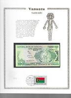 Vanuatu 100 Vatu 1982 P 1a UNC  w/FDI UN FLAG STAMP Prefix BB