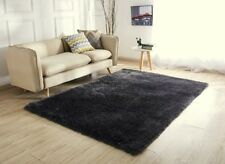 NEW DARK GREY THICK SILKY SOFT SHAGGY PILE RUG MODERN LUXURIOUS RUGS RUNNERS