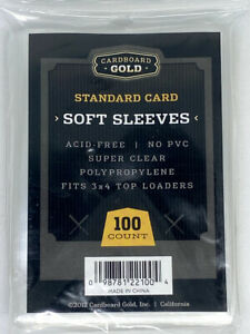 Cardboard Gold-CBG-100 Count Standard Soft Penny Sleeves Fits 3 X 4 Top Loaders