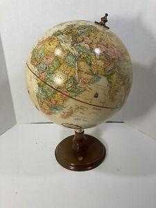 "Replogle World Classic 12"" Globe Wood & Brass Rotating Stand Raised Relief"