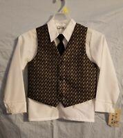 Boys NWT Solid Black 5 pcs Vest Suit Set with 2 Colored Dress Shirts Tie Size 7