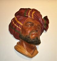 "Vtg Bossons Chalkware Head Abdhul 1960 Congleton England 8""x6""x3"""