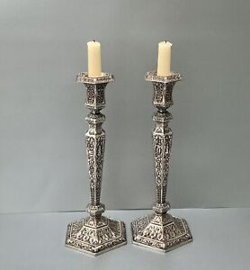 Pair Of 19th C. Repousse Silver On Copper Candlesticks By EG WEBSTER & SON C1880