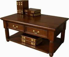 Solid Mahogany Pillar Coffee Table with 2 Drawers and a low shelf  NEW T059