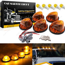 5PC Cab Roof Running Marker Light Amber Lens + T10 LED Kit for 73-87 GMC Chevy