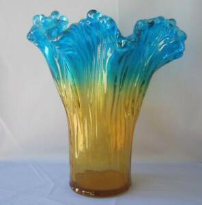 Genuine Italian Art Deco Glass Vase Turquoise Yellow Tammaro Italy Murano No 693