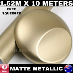 PLATINUM GOLD MATTE METALLIC CAR VINYL WRAP FILM STICKER AIR RELEASE 1.52M X 10M