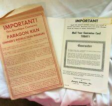 Vintage Paragon Kiln Owner'S Instruction Manual