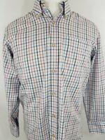 T. Harris London Button Front Light Blue Check Long Sleeve Shirt Medium (9903)