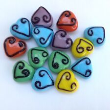 14 x 18mm New Mixed Colours Opaque Puffed Glass Hearts/Jewellery Making