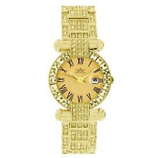 Softech Women's Metal Gold with Gold Face Diamante Date Watch Analog Quartz