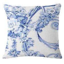 Vintage Blue Flowers Cotton Linen Throw Pillow Case Cushion Cover Home Decor #7