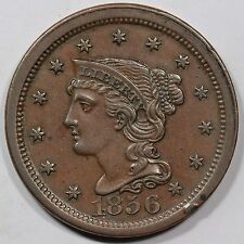 1856 N-12 R-1+ E-MDS Braided Hair Large Cent Coin 1c