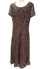 Carole Little Dress 8 Brown Black Animal Print Stretch Lined A-Line Tiered Long