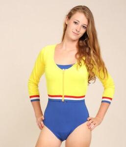 Vintage Crop Top Long Sleeve Zip Up Cheerleading Shirt Yellow Lycra Adult Small