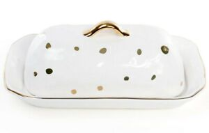 White Porcelain Butter Dish with Gold Polka Dot Pattern, Modern Style, 8.7x5.3
