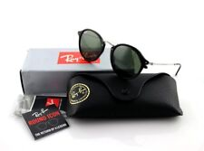 NEW Genuine RAY-BAN ROUND FLECK Black Silver Green Classic Sunglasses RB2447 901
