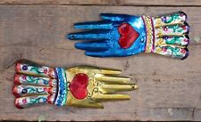 Set of 2 Glove Hand Heart Mexican Folk Art Tin Hojalata Milagro Handmade Love