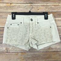 American Eagle Womens 2 Cut Off Crochet Denim Shorts Low Rise Jean Cream Stretch
