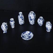 1/12 Dollhouse Miniatures Ceramics Porcelain Vase Blue Vine -7 piece