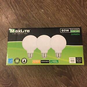 MaxLite Globe Dimmable Globe Lightbulbs G25 Lamp E26 Base 60W 2700K - 3 Pack