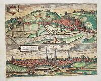 Essen und  Werden seltener Braun und  Hogenberg Kupferstich 1580
