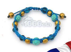BRACELET STYLE STYLE Tibétain Perles HÉMATITE couleurOr pierre Turquoise