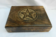 Hand Carved Wooden Tarot Card Storage Box / Wooden Box with Pentagram Lid