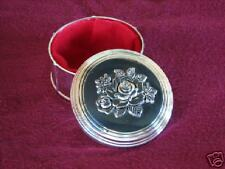 Round Antiqued Rose Top Jewelry Treasure Trinket Box
