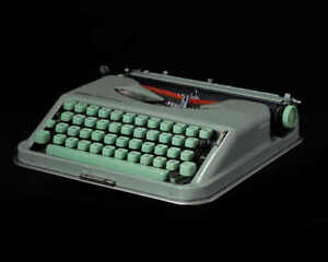 Vintage Green Hermes Media Baby Portable Typewriter with Original Case
