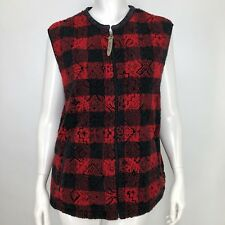 Woolrich Womens Large Fleece Vest Buffalo Plaid Red Black Teddy Bear Zip Up L