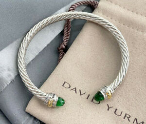 David Yurman Classic Cable 14K Gold Sterling Silver 5mm Bracelet with Crystals