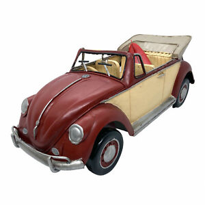 34cm Red VW Beetle with Surfboard Vintage Style Metal Surf Car Official Licensed