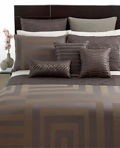 """Hotel Collection Bed skirts Bedding Columns California KING 72""""x84"""" Brown"""