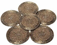 Set of 6 Beaded Handmade Round Brown Coaster Set Table Decor Coffee Tea Placemat