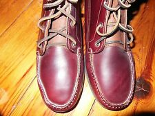 Quoddy  Sewn in Maine Men's Wine Leather Grizzly Boots Camp sole, size 9 D.M